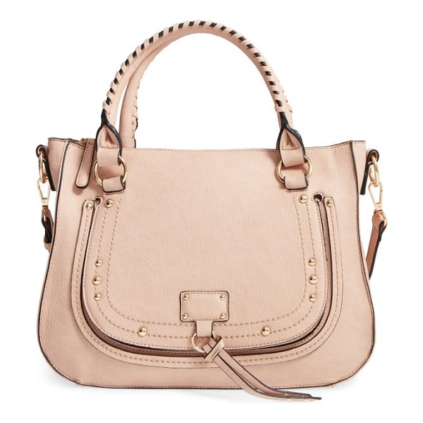 SOLE SOCIETY whipstitch faux leather satchel - Whipstitched top handles and gleaming hardware keep this...