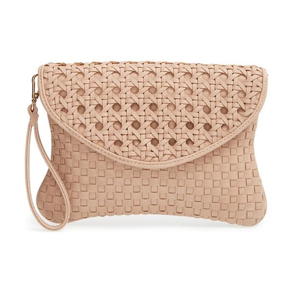 SOLE SOCIETY Averie woven faux leather clutch - A basket-woven texture and sophisticated hue make this...