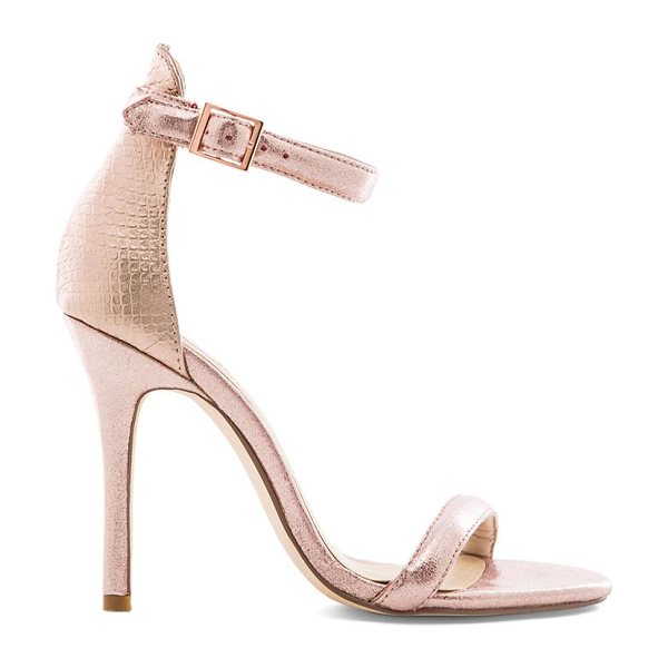 SOLES X nude icebergs heel in pink - Snake embossed metallic leather upper with man made...
