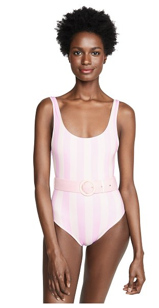 Solid & Striped the anne-marie one piece swimsuit with belt in baby pink/white stripe