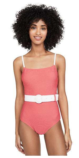 Solid & Striped the nina belted one piece in coral squiggle