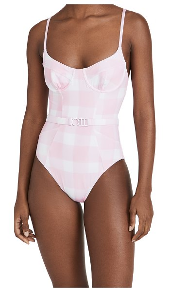 Solid & Striped the spencer one piece swimsuit in painted gingham cloud pink