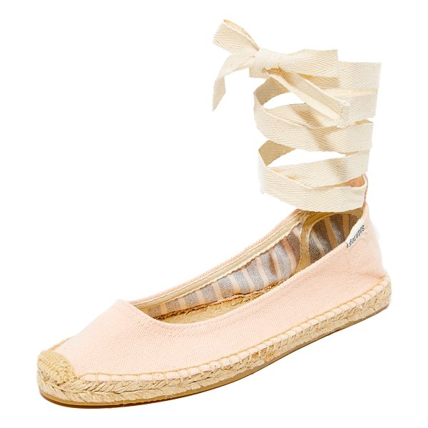 Soludos ballet tie up flats in soft rose - Pastel canvas and soft ankle ribbons add a feminine,...