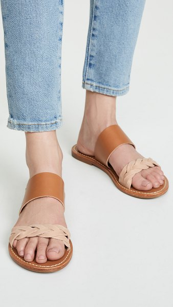 Soludos braided slide sandals in acorn brown