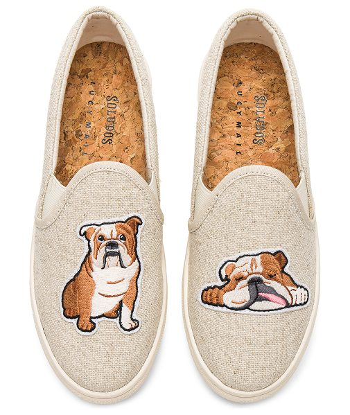 Soludos Bulldog Slip On Sneaker in beige - Canvas upper with rubber sole. Slip-on styling....