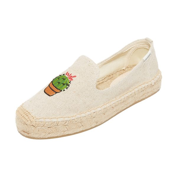 Soludos cactus platform espadrilles in sand - Casual canvas Soludos espadrilles detailed with an...