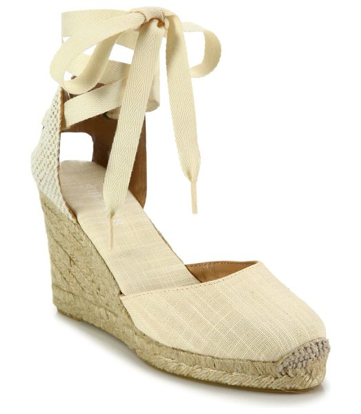 Soludos canvas ankle-wrap wedge espadrilles in blush - Canvas d'Orsay espadrille wedge with lace-up ankle...