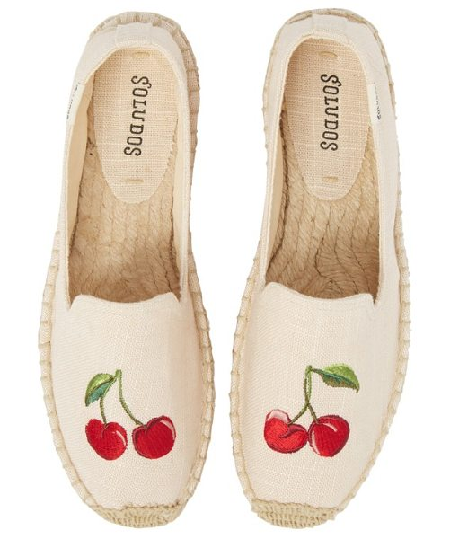 SOLUDOS cherries embroidered espadrille - A pair of plump red cherries brightens the toe of a...