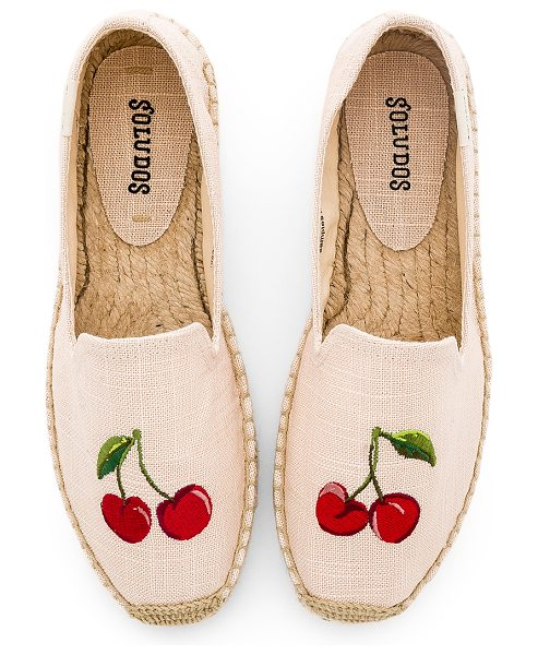 "Soludos Cherries Smoking Slipper in blush - ""Canvas upper with man made sole. Embroidered graphics..."