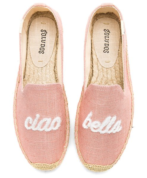 "Soludos Ciao Bella Smoking Slipper in pink - ""Canvas upper with man made sole. Embroidered detail on..."