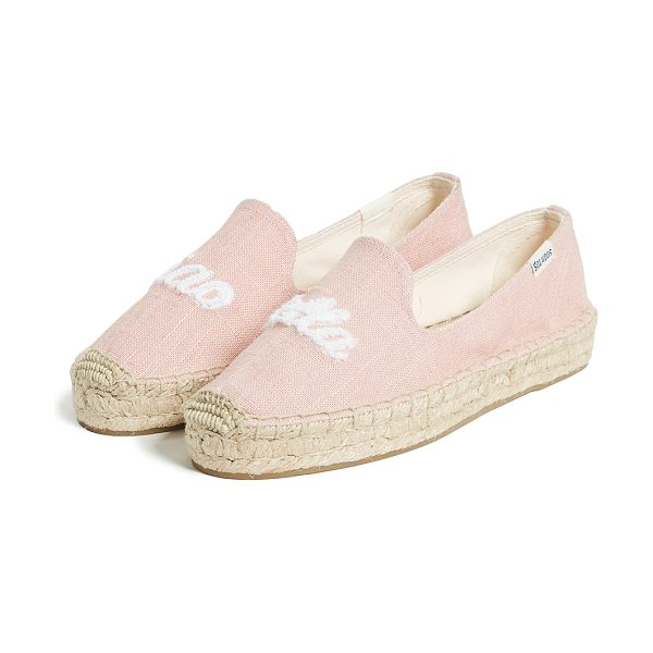 Soludos ciao bella smoking slippers in dusty rose - Leather: Slubbed linen weave Terry 'Ciao Bella' script...