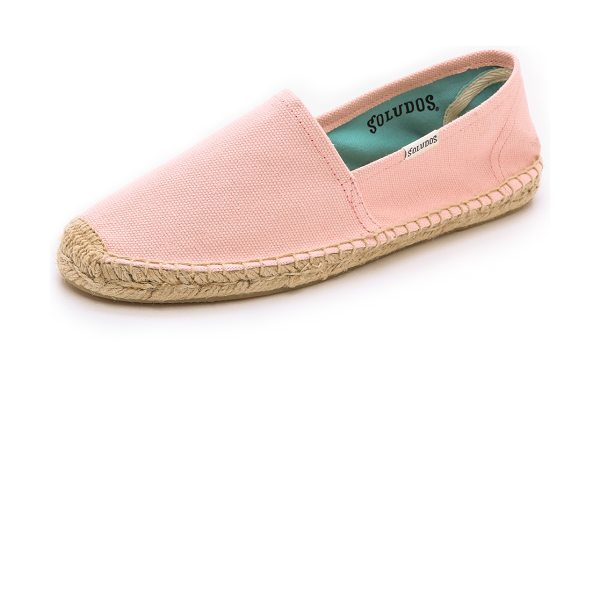 Soludos Dali espadrilles in petal pink - Solid canvas espadrille flats have timeless appeal with...