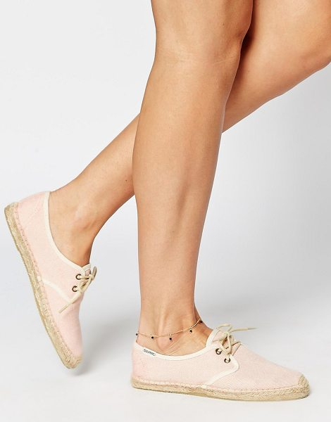 Soludos Derby lace up coral linen espadrille flat shoes in pink - Flat shoes by Soludos, Woven canvas fabric, High-cut...