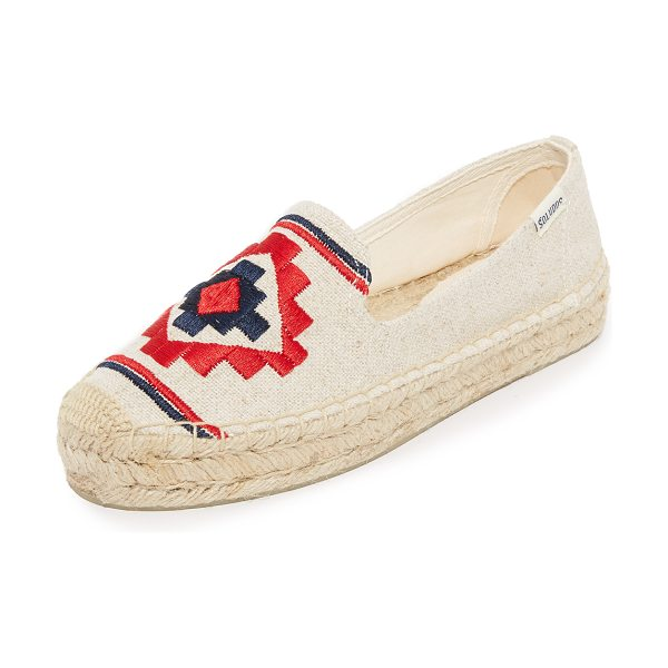 Soludos embroidered platform smoking slippers in sand - Geometric embroidery accents the vamp on these canvas...