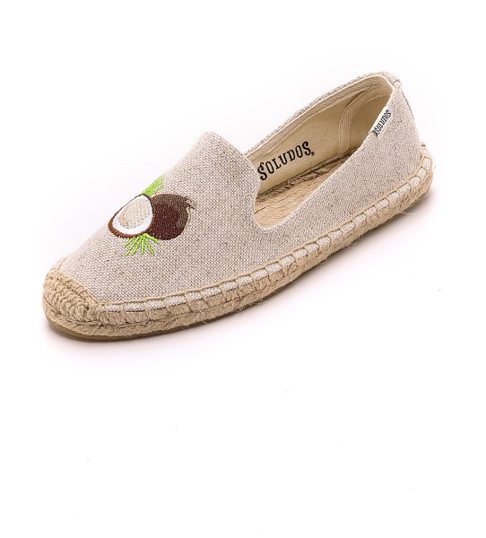 Soludos Embroidered smoking slipper espadrilles in sand - Embroidery gives these Soludos espadrilles a playful...