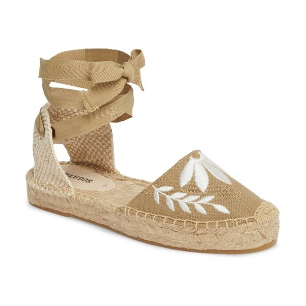 SOLUDOS embroidered wraparound espadrille sandal in khaki - Floral embroidery blooms at the toe of an open-sided...