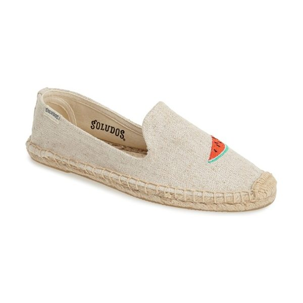 Soludos espadrille slip-on in sand - Fanciful embroidery takes center stage on an earthy...