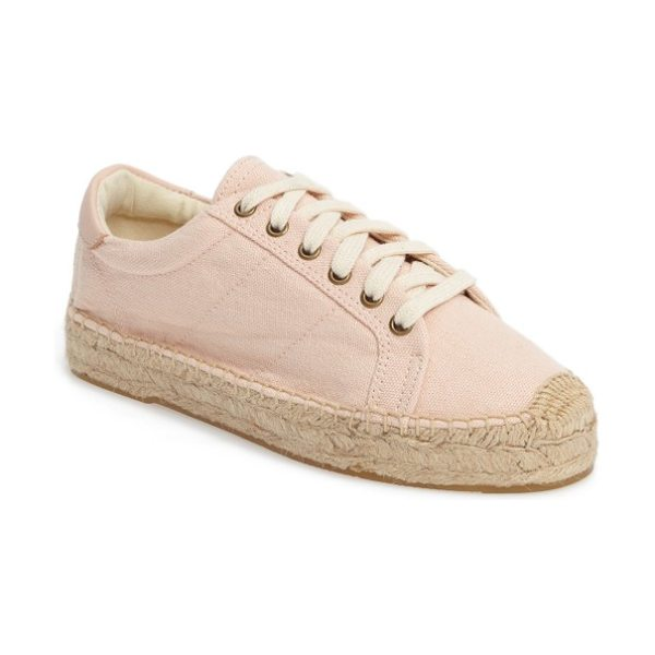 Soludos espadrille sneaker in soft rose canvas - A soft rose-pink sneaker with a jute-wrapped sole makes...