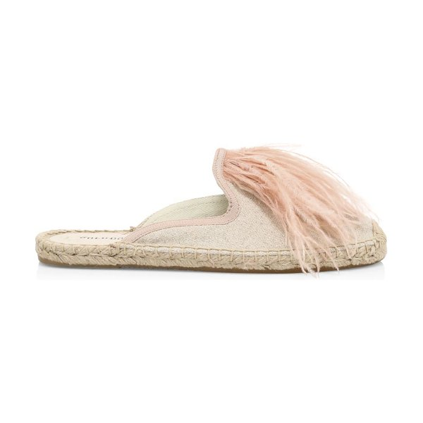 Soludos feather-trimmed espadrille mules in sand