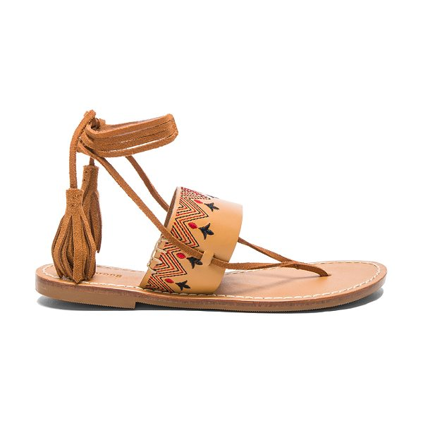 SOLUDOS Flat Lace Up Sandal - Leather upper with rubber sole. Lace-up front with...