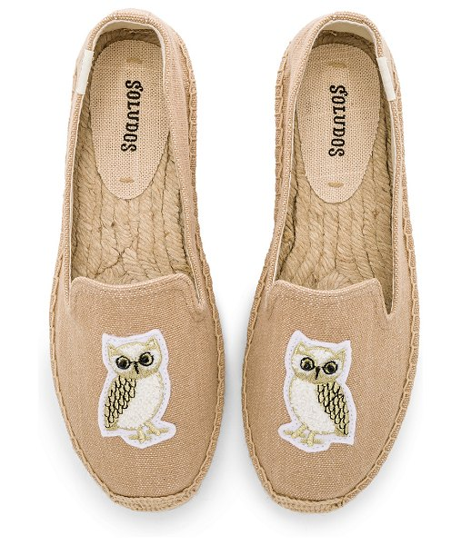 Soludos Gilded Owl Smocking Slipper in beige - Canvas upper with rubber sole. Slip-on styling....