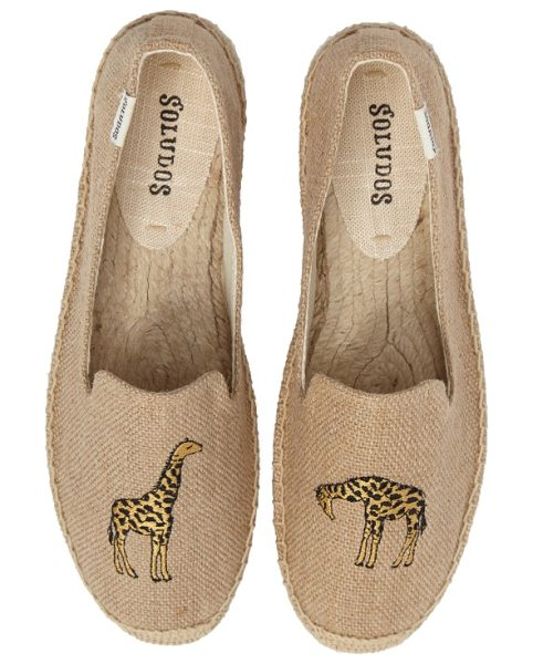 Soludos giraffe espadrille flat in natural - An embroidered giraffe adds a safari-inspired touch to...