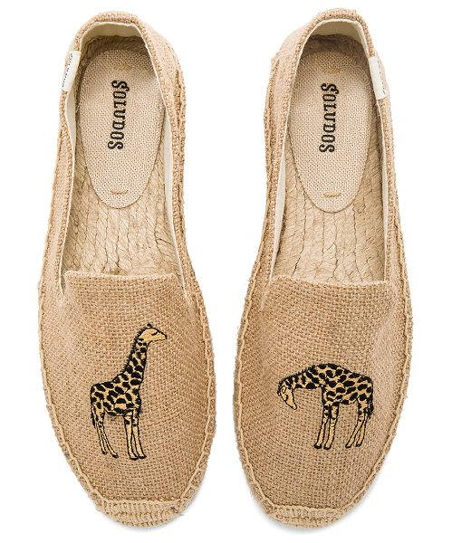Soludos Giraffe Smoking Slipper in tan - Textile upper with man made sole. Slip-on styling....
