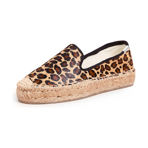 Soludos haircalf platform smoking slippers in leopard - Cannot be shipped outside the USA Fur: Dyed haircalf...