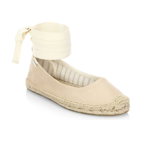Soludos leather ankle-wrap ballet flats in nude - Herringbone leather flats with espadrille trims. Leather...