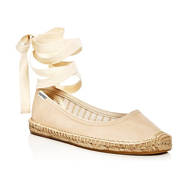 Soludos Leather Lace Up Espadrille Ballet Flats in nude - Soludos Leather Lace Up Espadrille Ballet Flats-Shoes