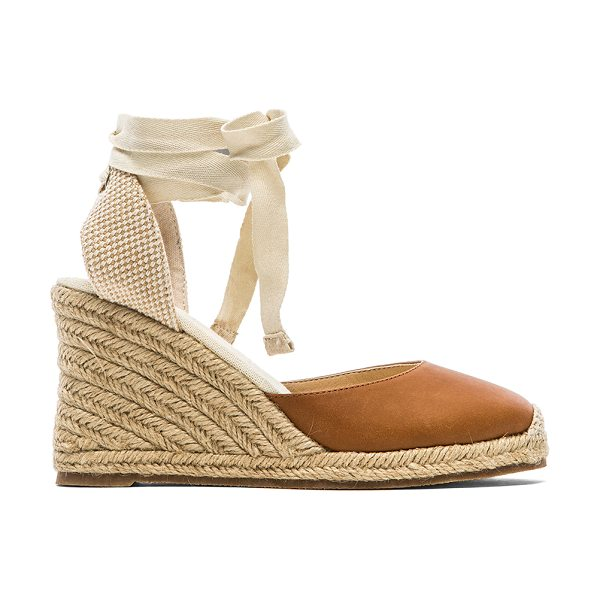 Soludos Leather wedge in tan - Leather upper with rubber sole. Wedge measures approx...