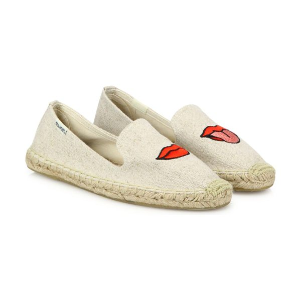 Soludos lips canvas espadrille flats in sand - From the Jason Polan for Soludos Collaboration...