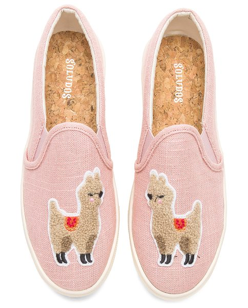 SOLUDOS Llama Slip On Sneaker in pink - Textile upper with rubber sole. Textured embroidered...