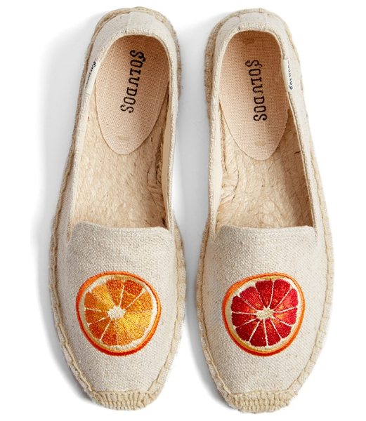 Soludos oranges embroidered espadrille slip-on in sand woven - A bright embroidered orange slice adds a pop of color...