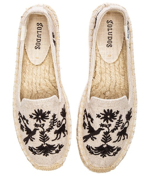 Soludos Otomi embroidered smoking slipper in beige - Canvas upper with man made sole. Slip-on styling. Jute...