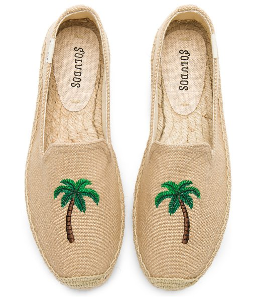 Soludos Palm Tree Smoking Slipper in taupe - Canvas upper with man made sole. Slip-on styling....