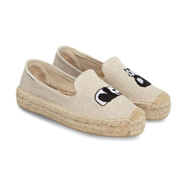 Soludos panda embroidered platform espadrille in sand - Because the only thing better than a breezy platform...