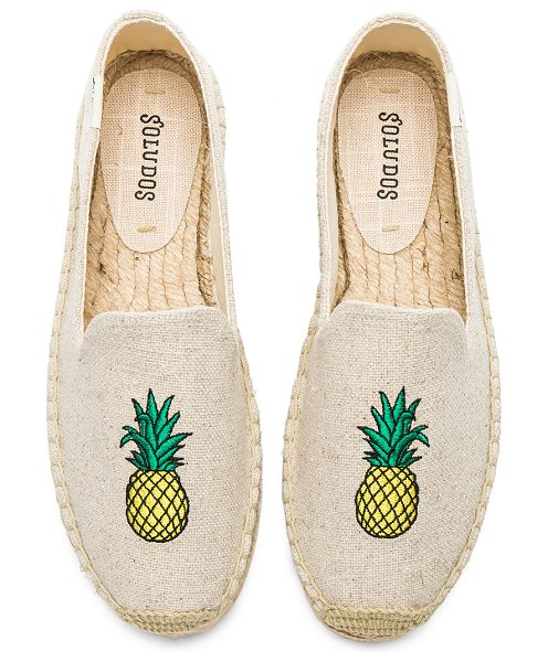 Soludos Pineapple Smoking Slipper in beige - Canvas upper with man made sole. Slip-on styling....