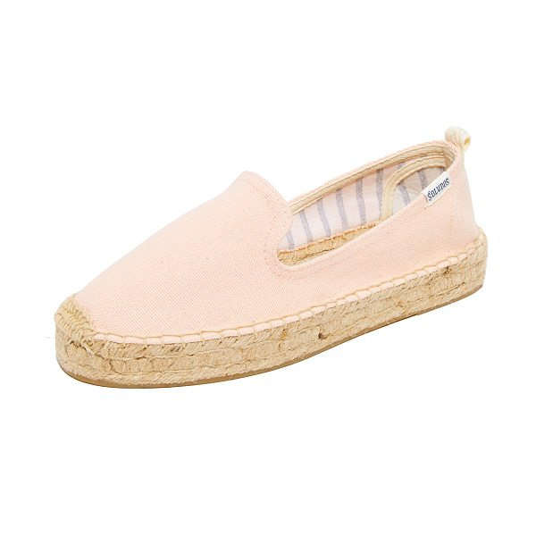 Soludos platform smoking slippers in soft rose - Casual Soludos espadrilles in sturdy canvas. A pull tab...