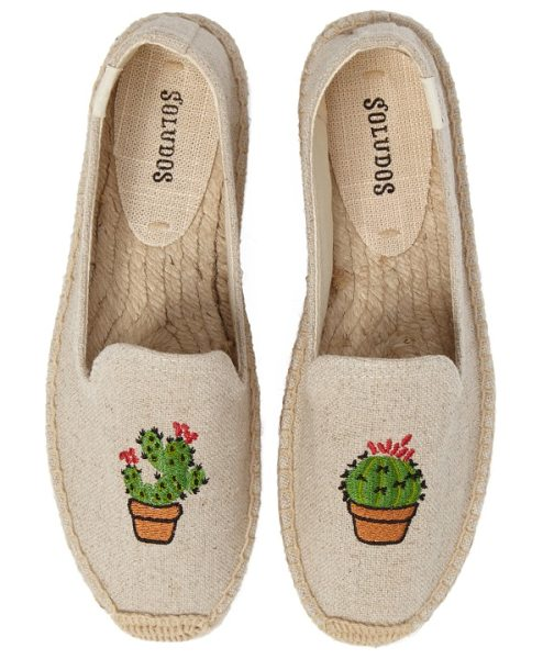 Soludos soludus cactus platform espadrille in sand canvas - Embroidered cacti add Southwest-inspired style to...