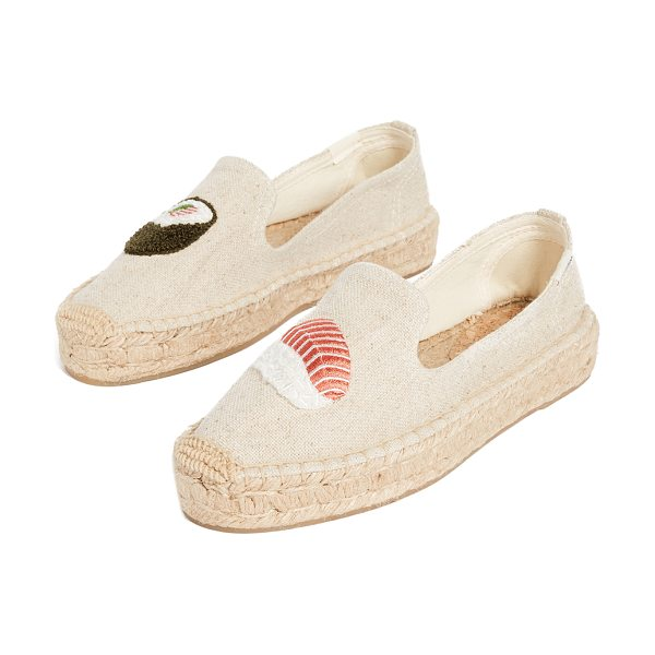 Soludos sushi platform smoking slippers in sand - Fabric: Canvas Sushi embroidery Espadrilles Flat profile...