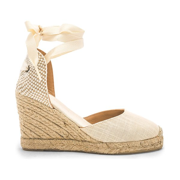 "Soludos Tall Wedge in pink - ""Woven textile upper with rubber sole. Wrap ankle with..."