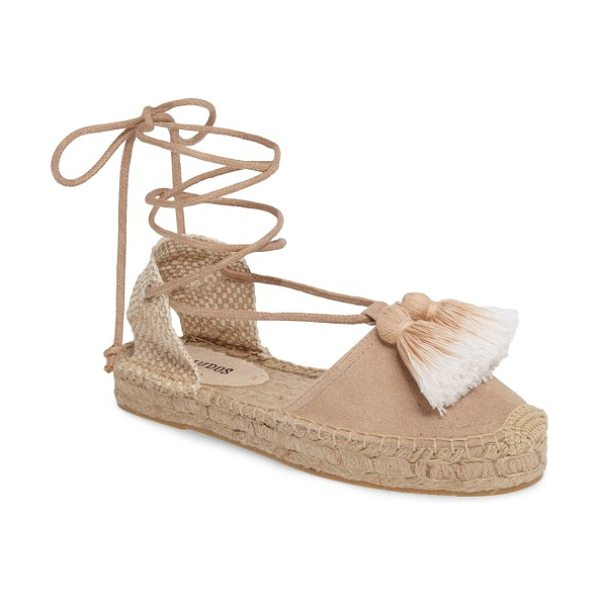 SOLUDOS tassel lace-up espadrille - Ombre tassels at the vamp add to the trend-forward look...
