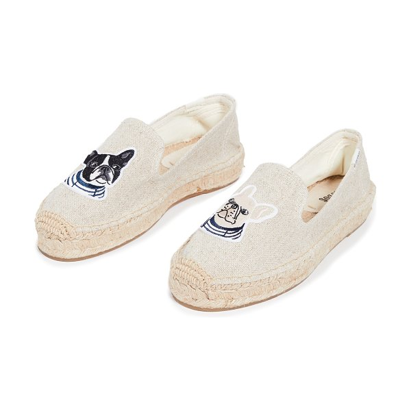 Soludos teddy & gigi smoking slippers in sand - Fabric: Canvas Dog patches Braided jute platform...