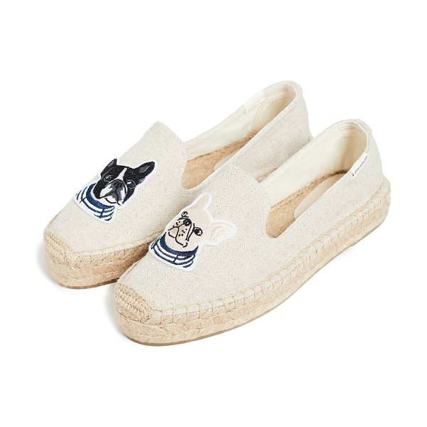 Soludos teddy & gigi smoking slippers in sand - Fabric: Canvas Braided jute trim Embroidered puppy...