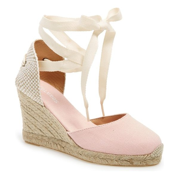 Soludos wedge lace-up espadrille sandal in blossom pink canvas - Woven laces gracefully wrap around the ankle of a chic...