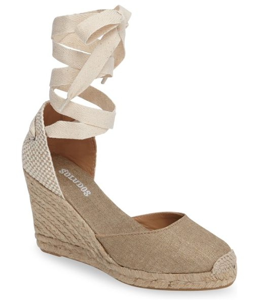 Soludos wedge lace-up espadrille sandal in gold - Woven laces gracefully wrap around the ankle of a chic...