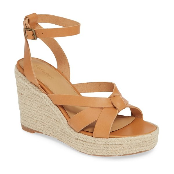 Soludos wedge sandal in beige - Knotted toe straps lend a touch of playful drama to a...