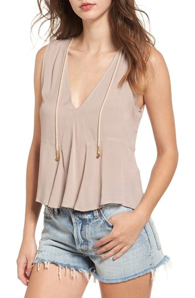 Somedays Lovin among the roses drape tank in dusty rose - Playful rope ties dangle from the neckline of this...