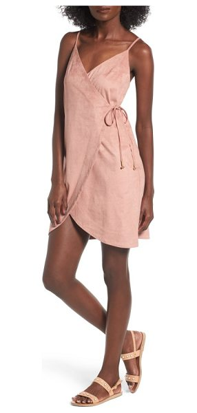 Somedays Lovin dance at dust wrap dress in dusty pink - Subtly striped microsuede in the perfect shade of sandy...